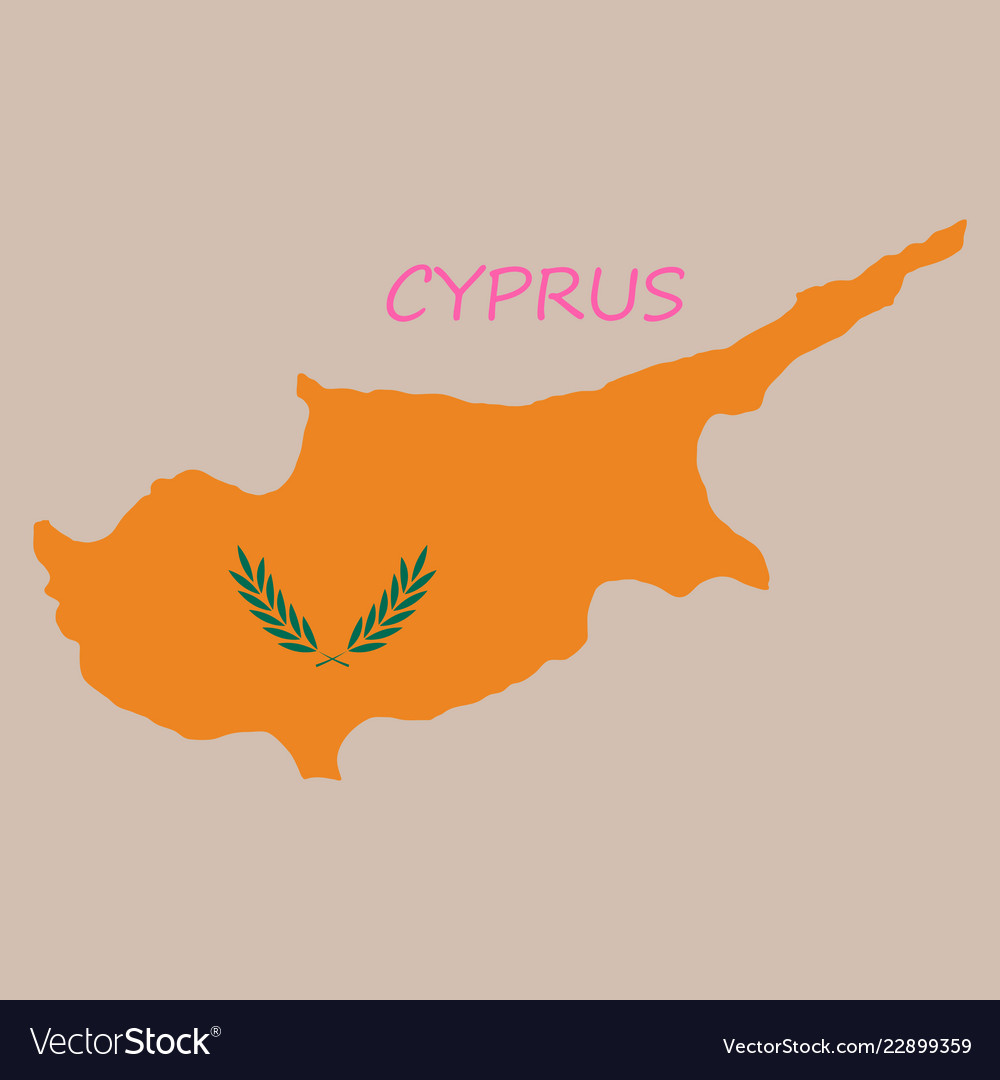 Detailed of a map of cyprus with flag eps10