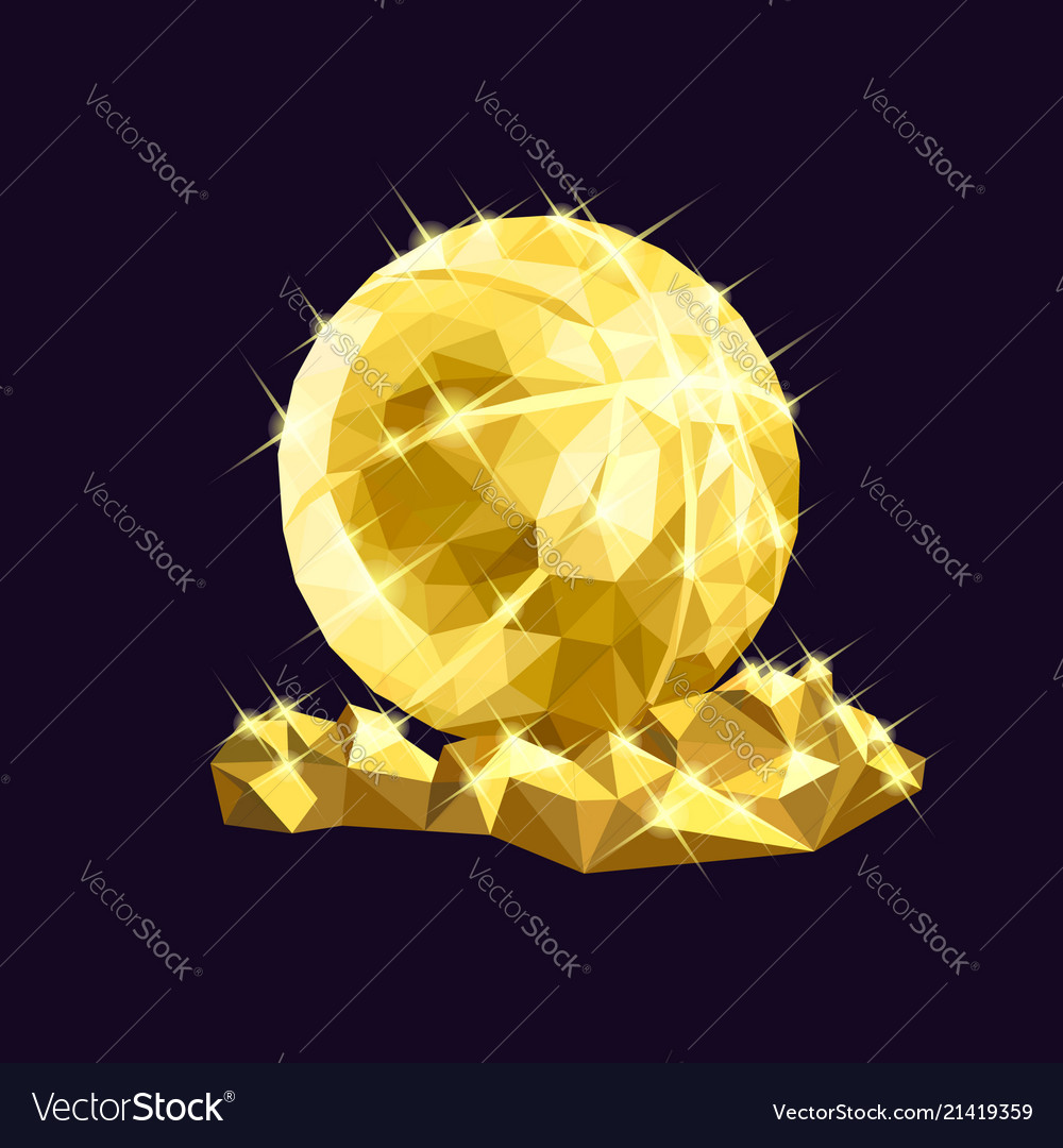 Golden basketball low poly design