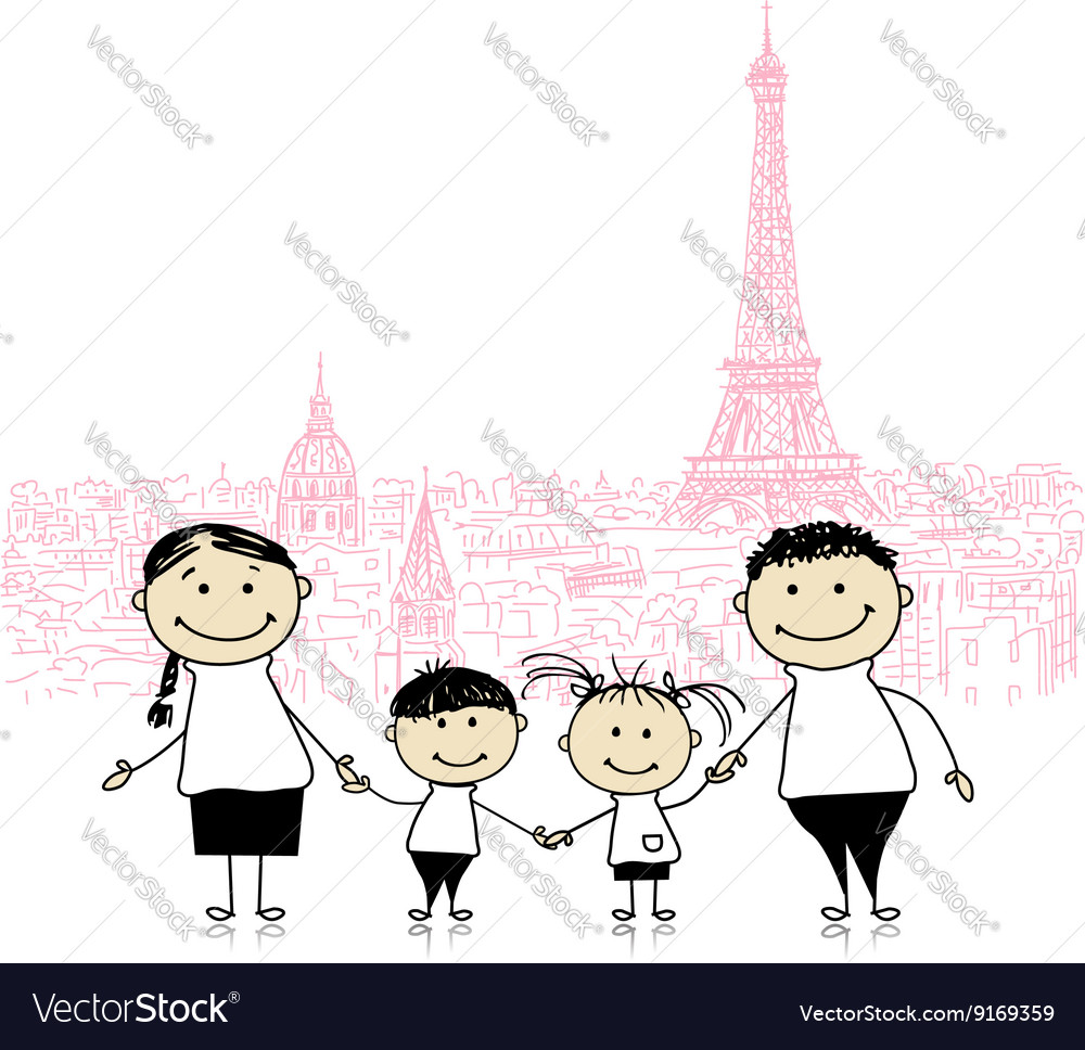Happy family traveling in Paris Sketch for your