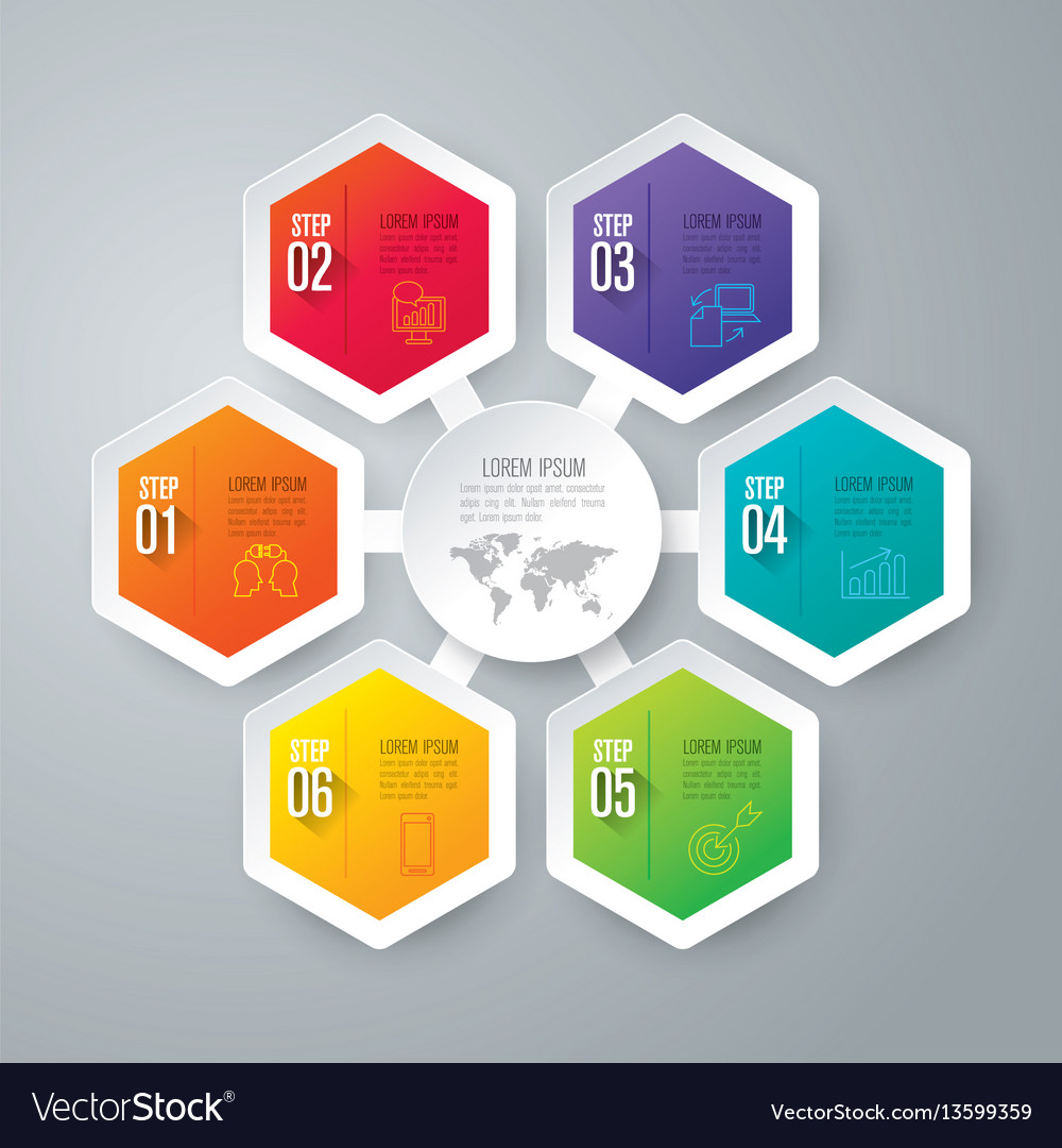Infographics design with 6 step