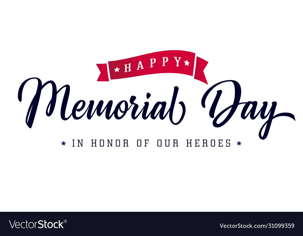 Memorial day lettering poster