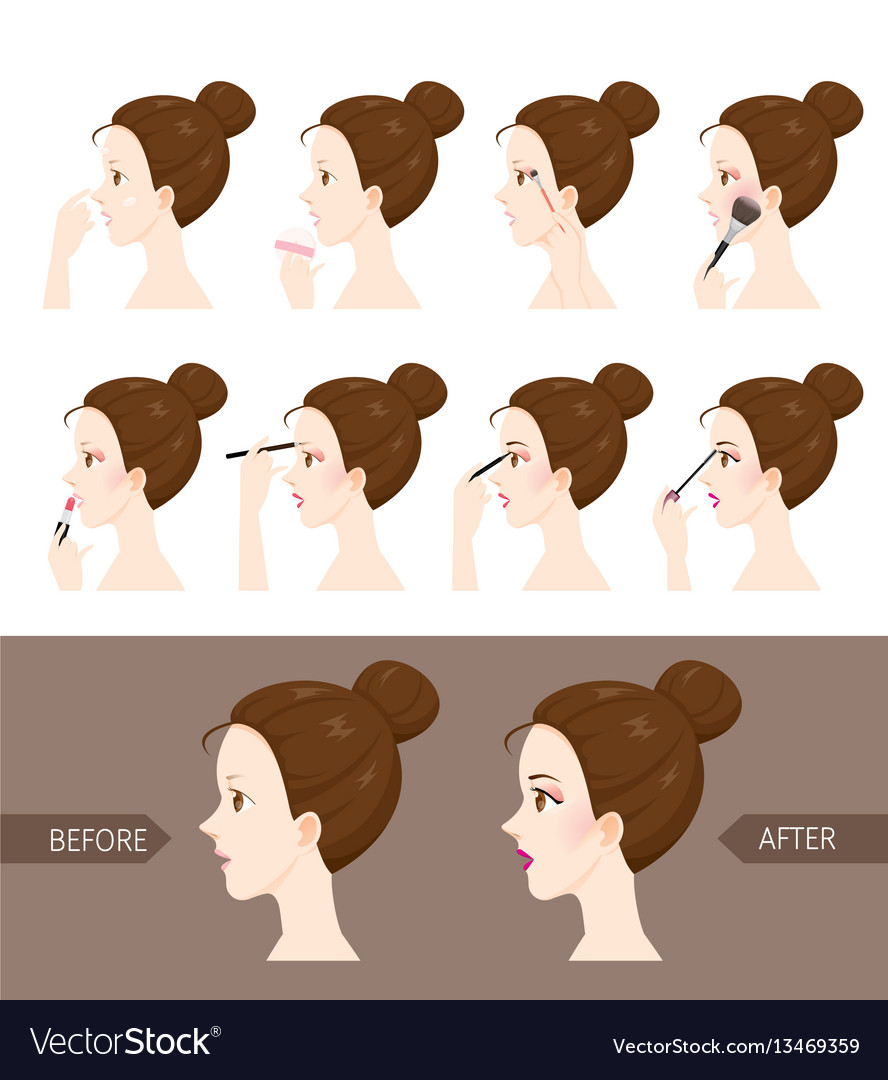 Step to make up of side view woman