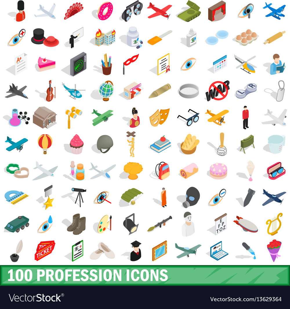 100 profession icons set isometric 3d style