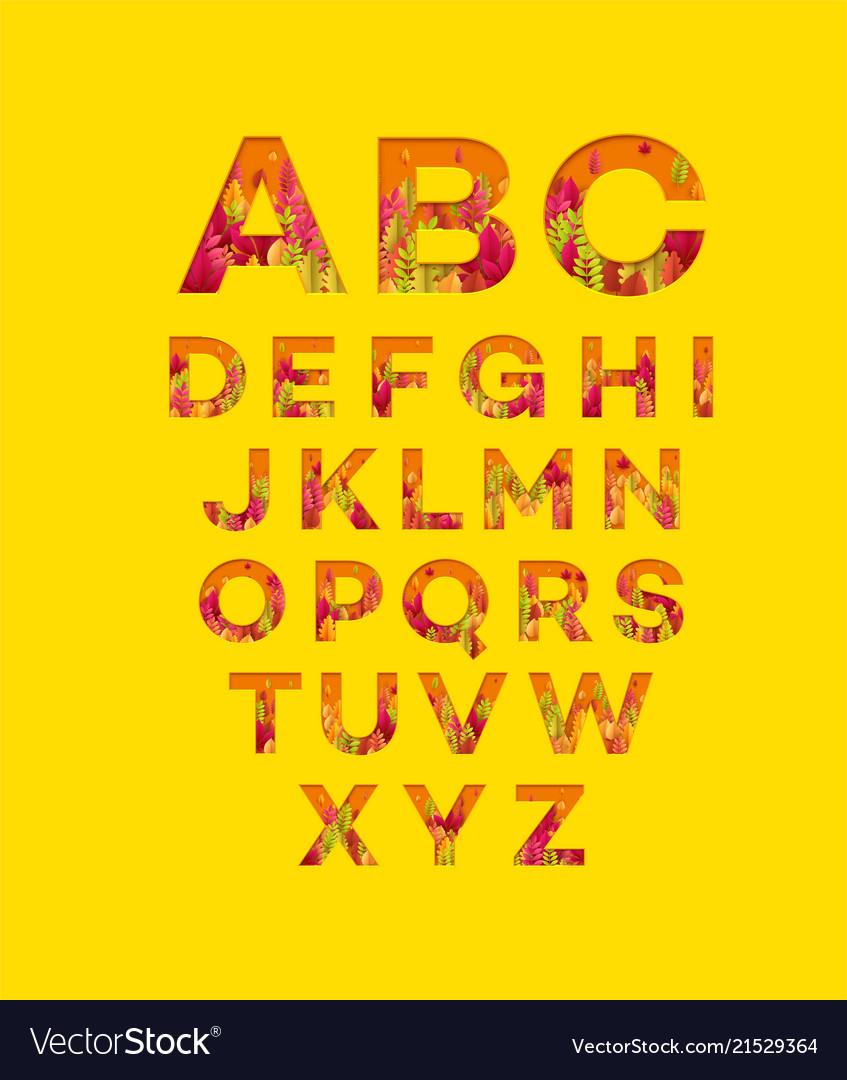 Alphabet letters made from autumn leaves