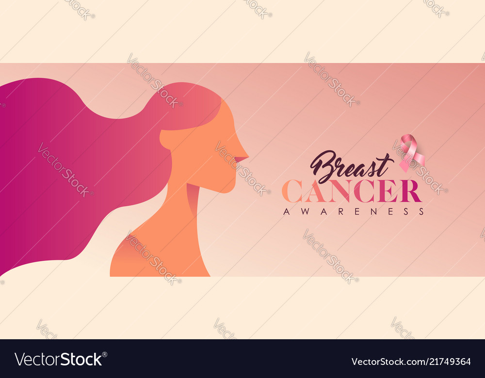 Breast cancer pink woman banner for support