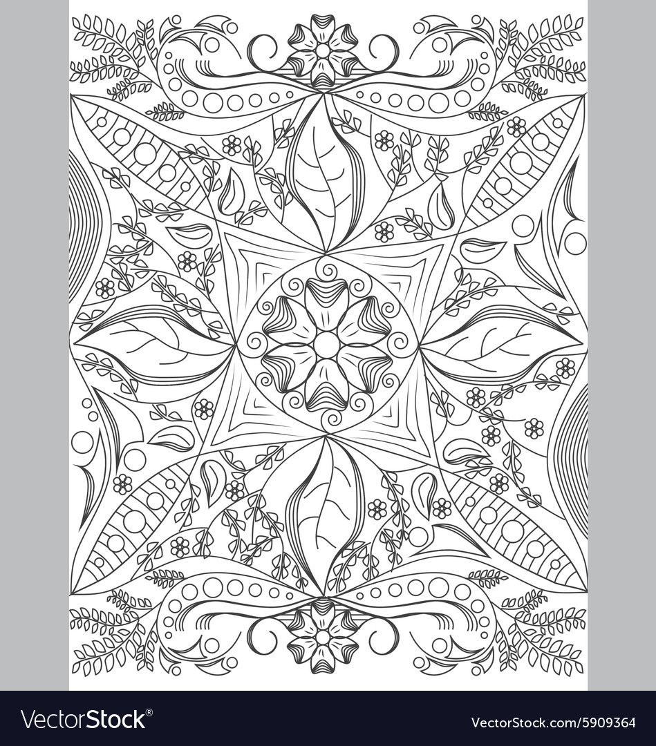 Coloring Book Page For Grownups Vector Image