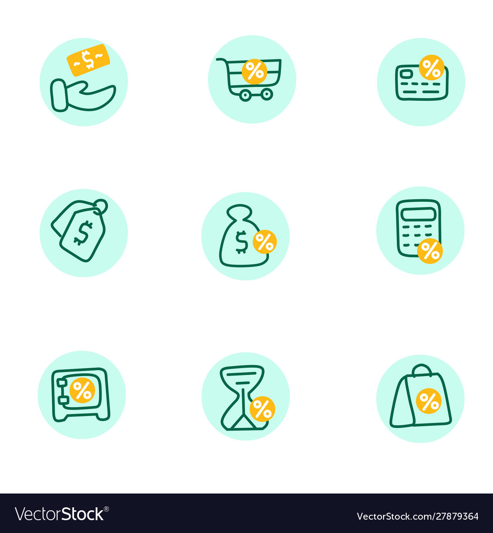 Credit score financial icons linear set