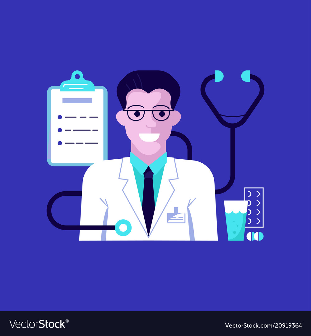 Doctor portrait and medical icons