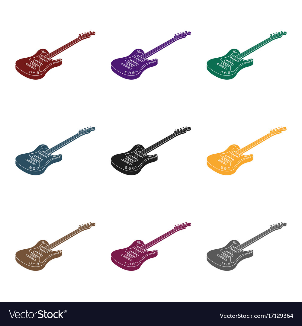 Electric guitar icon in black style isolated on