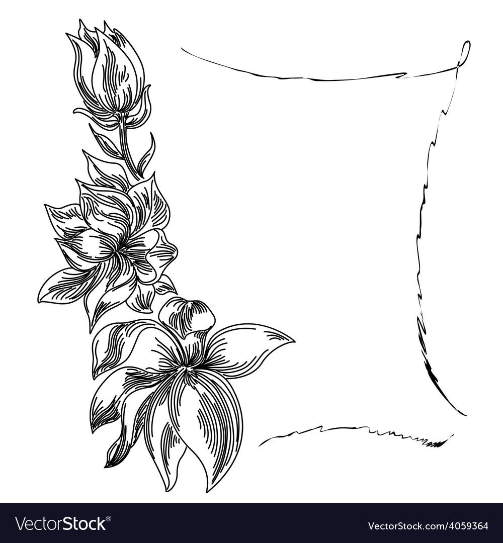 Flower frame black royalty free vector image vectorstock flower frame black vector image mightylinksfo