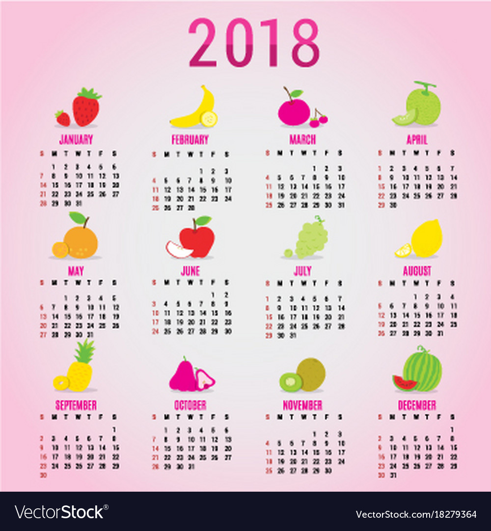 Planner Calendar New Year 2018 Fruit Cute Cartoon Vector Image
