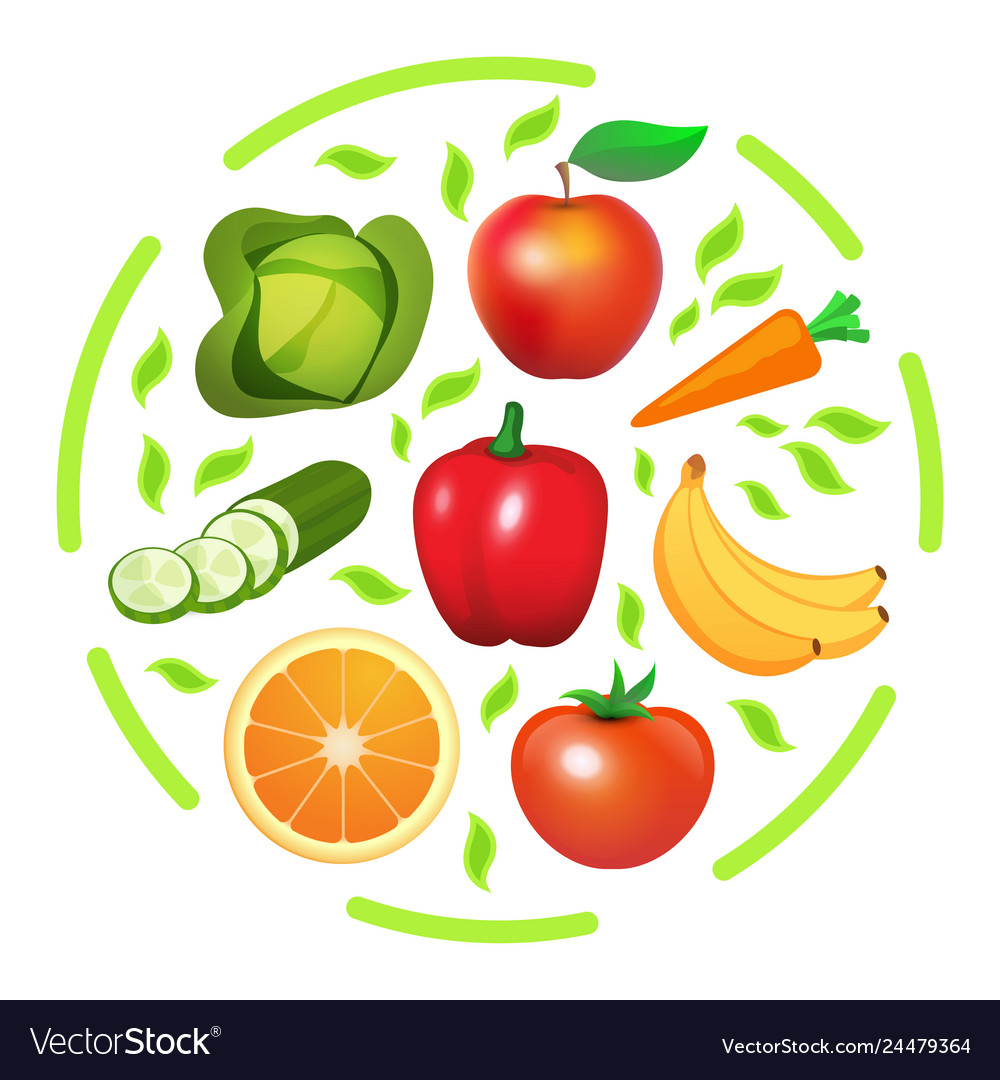 Round Print With Vegetables And Fruits Royalty Free Vector