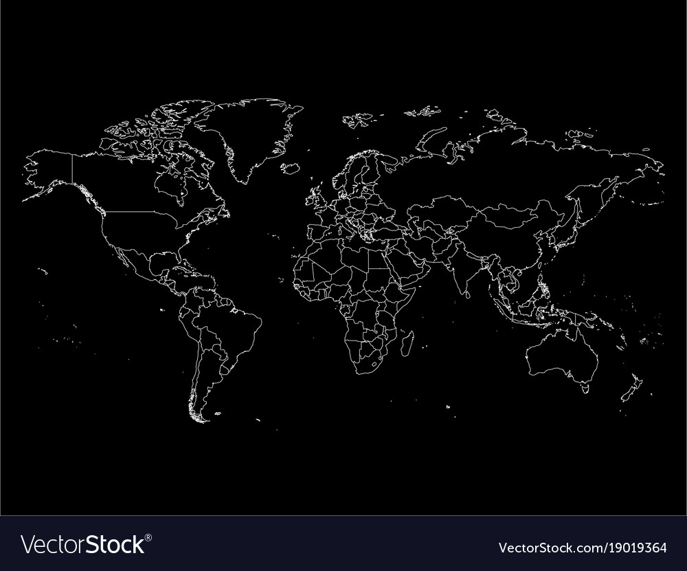 World map with country borders thin white outline vector image gumiabroncs Gallery