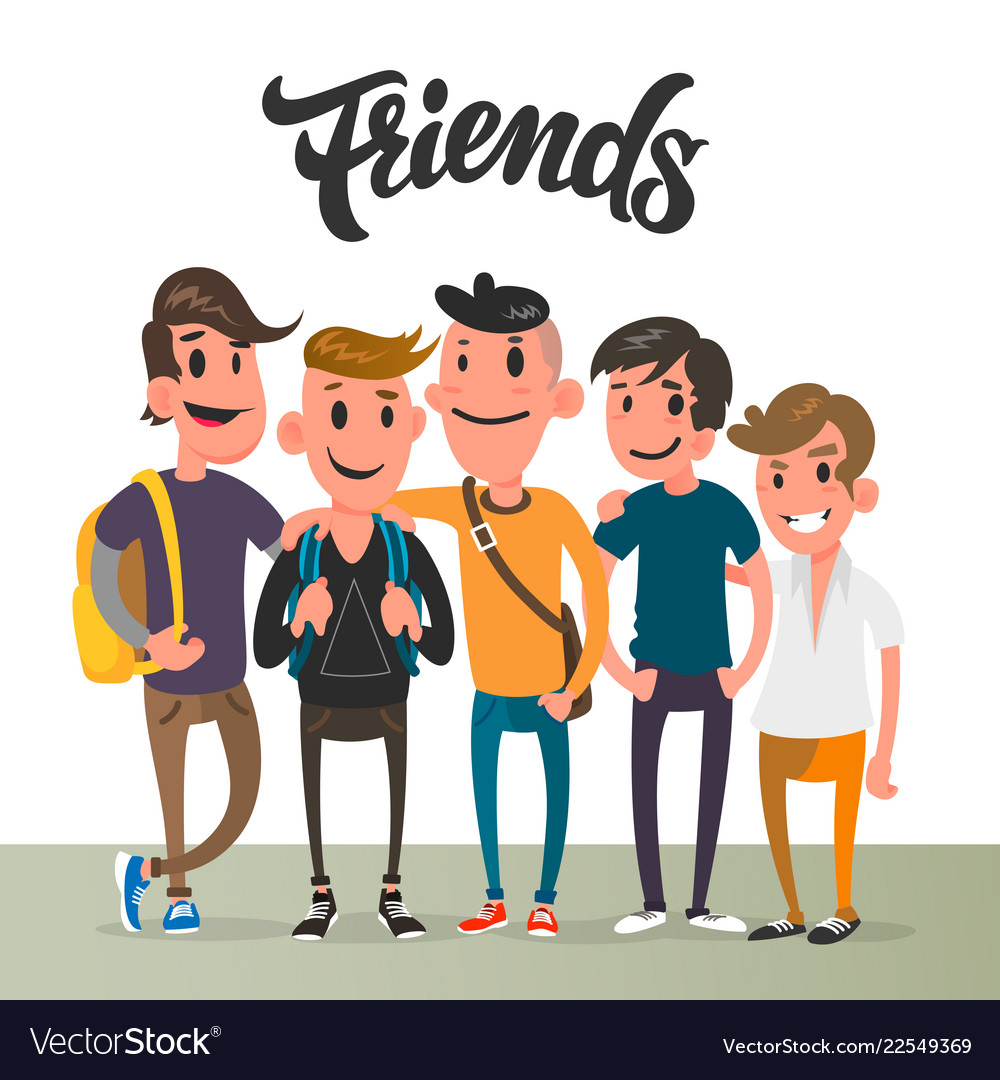 Cartoon Guys Five Best Friends Student Royalty Free Vector
