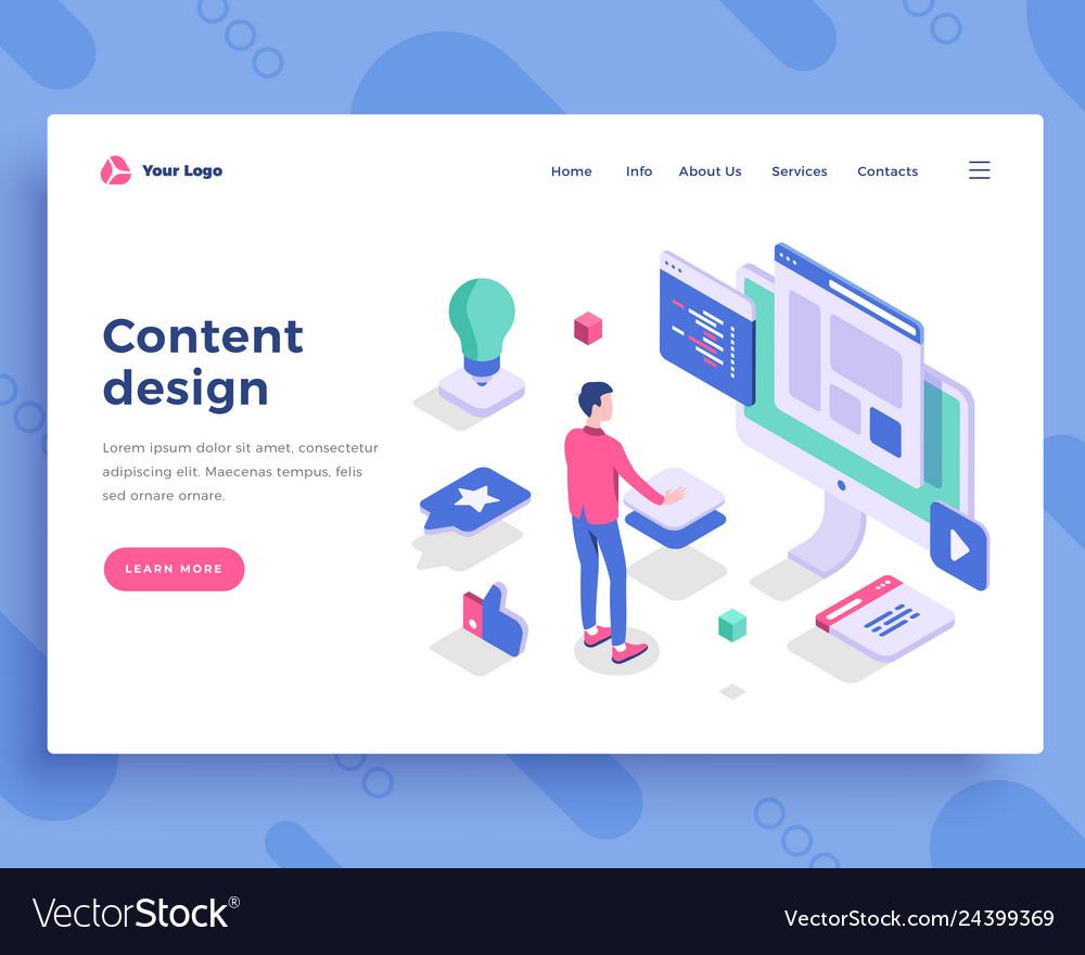 Content design concept office man interact