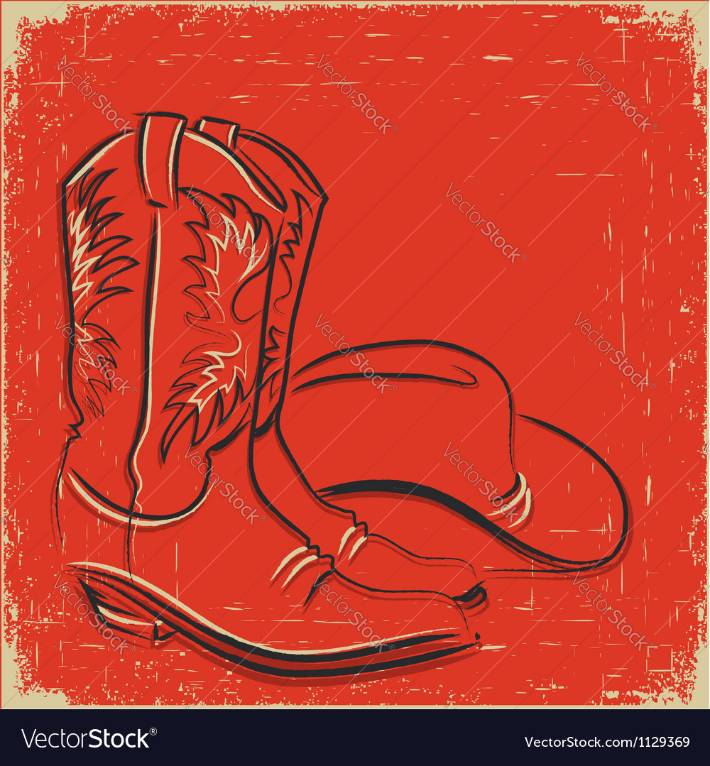 Cowboy boots and western hat Sketch on red