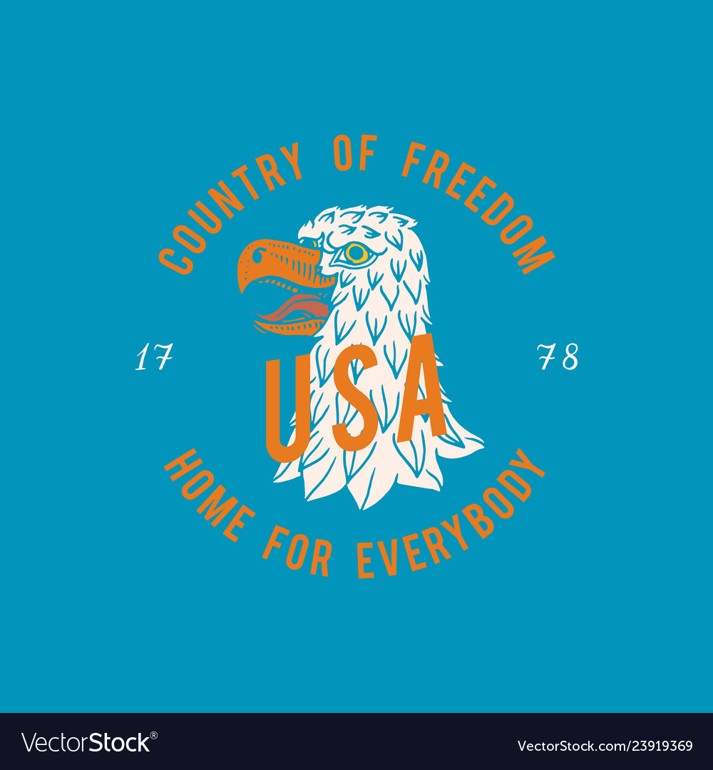 Eagle logo for vintage t-shirt wild bird