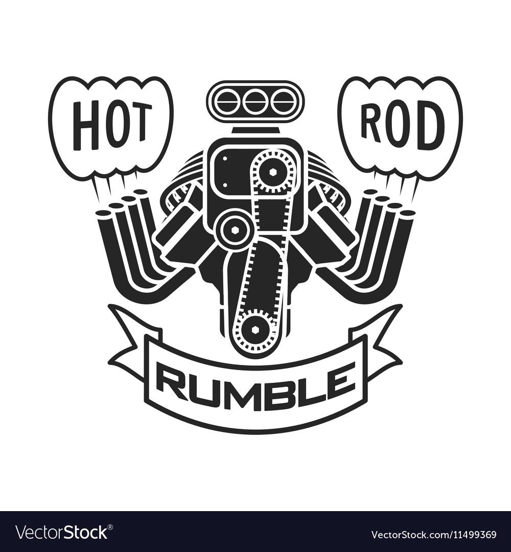 Engine Hot Rod Muscle Car Speedster Logo T Shirt Vector Image