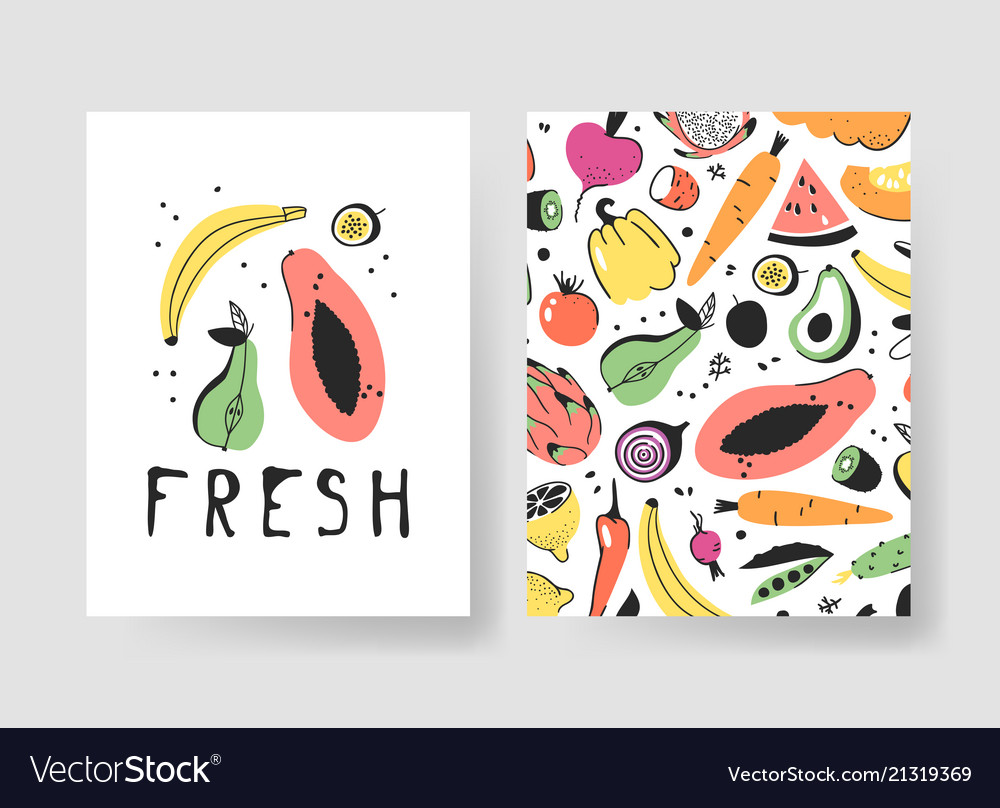 Hand drawn set of cards with fruits and vegetables