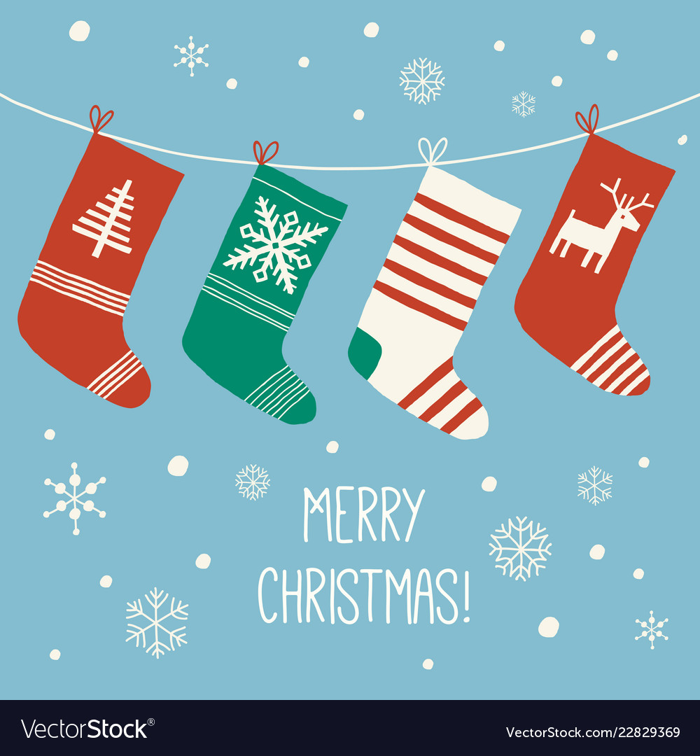 Christmas Stockings Cartoon.Merry Christmas Socks Christmas Card Cartoon