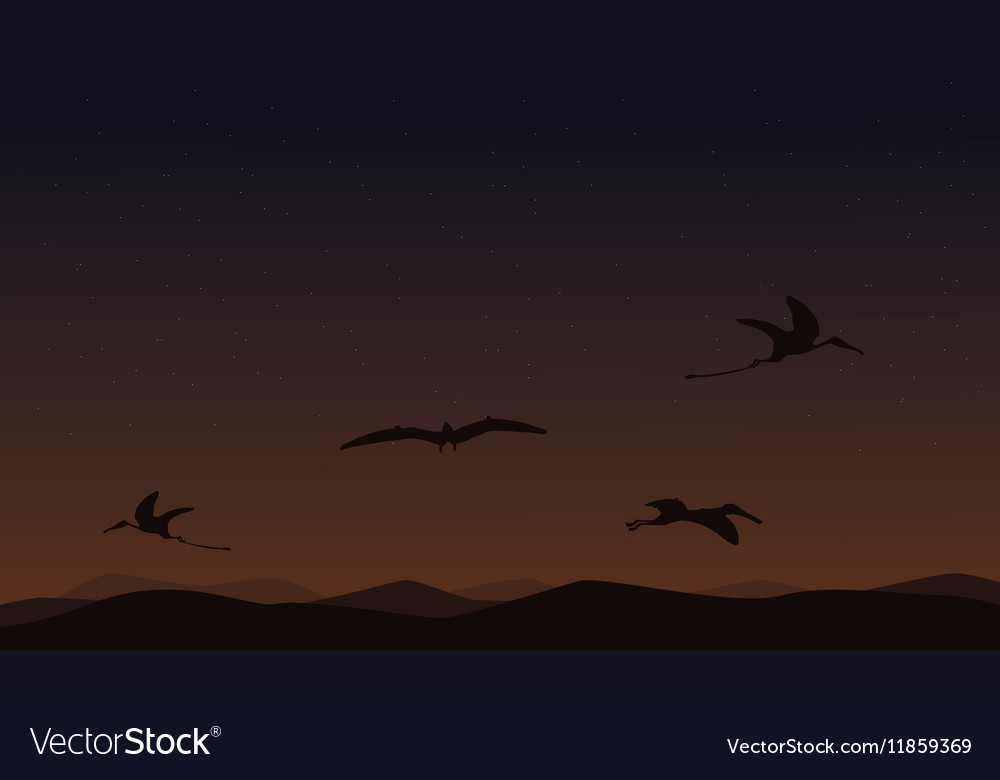 Pterodactyl on sky landscape of silhouettes
