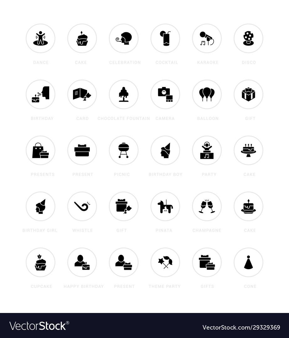 Set simple icons birthday