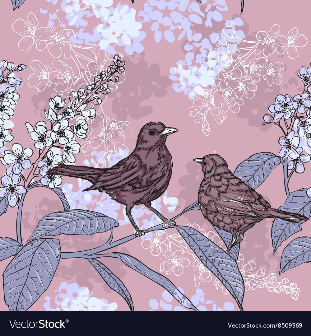 Sketch of a Birds and Flowers