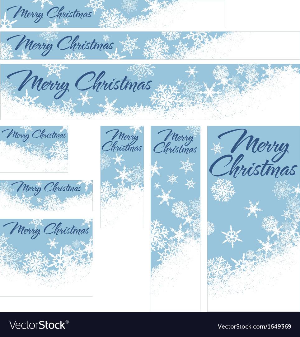 Snowflakes Christmas Web Banners Retro Blue vector image