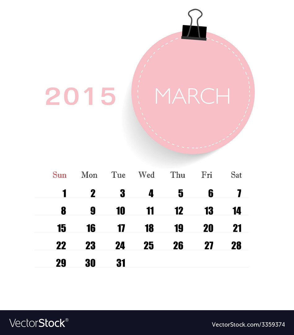 Calendar Monthly March : Calendar monthly calendar template for march vector image