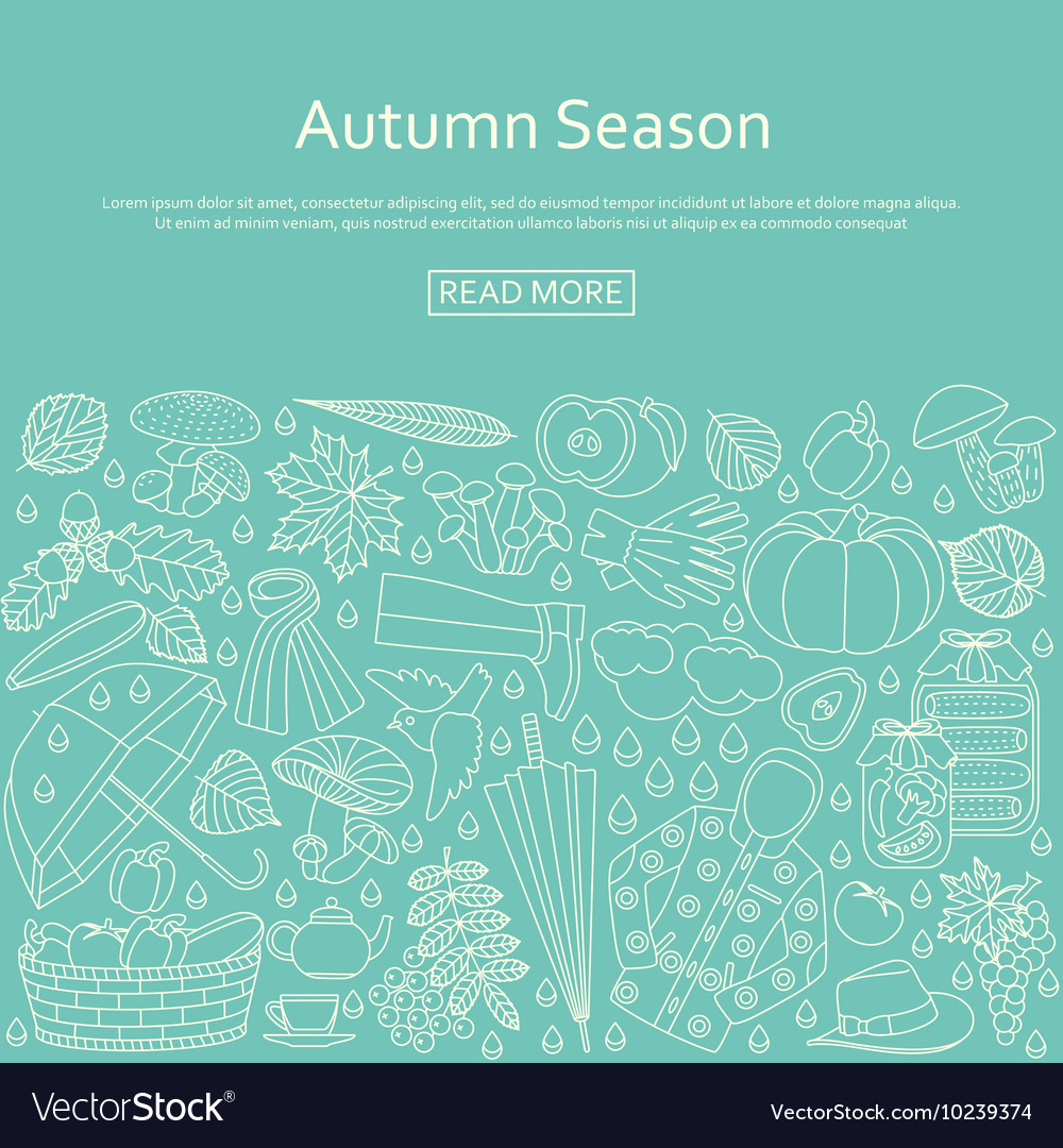 Autumn background made of many line icons
