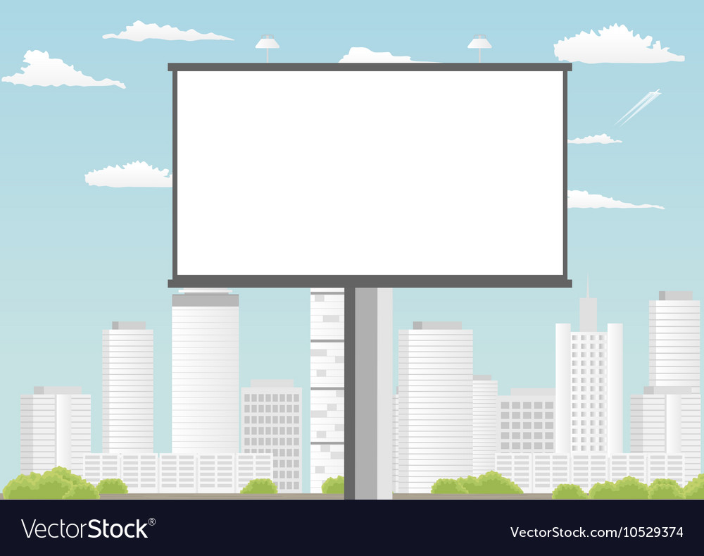 Billboard with empty screen against skyscrapers