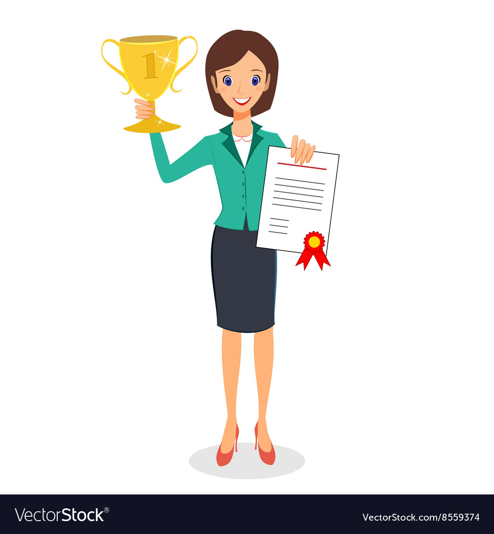 Business woman winner holding prize and vector image