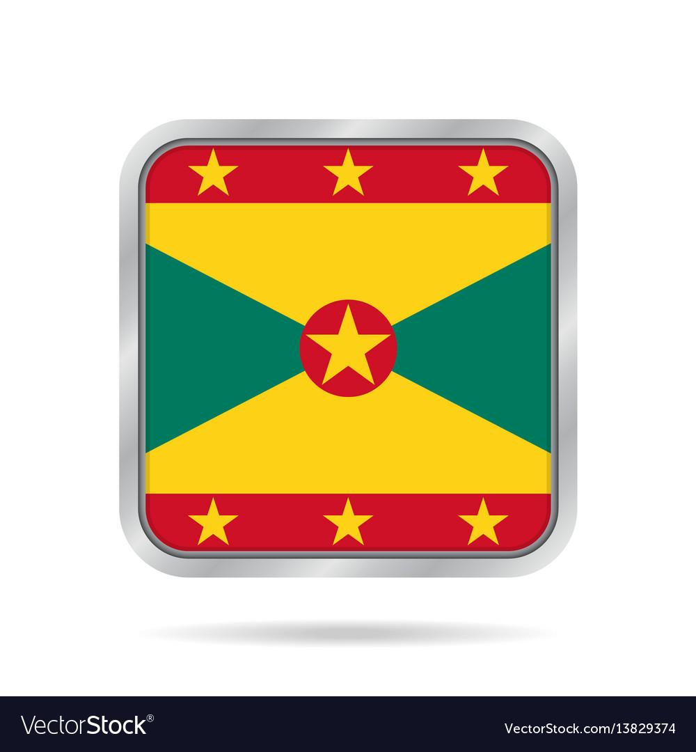Flag of grenada shiny metallic gray square button