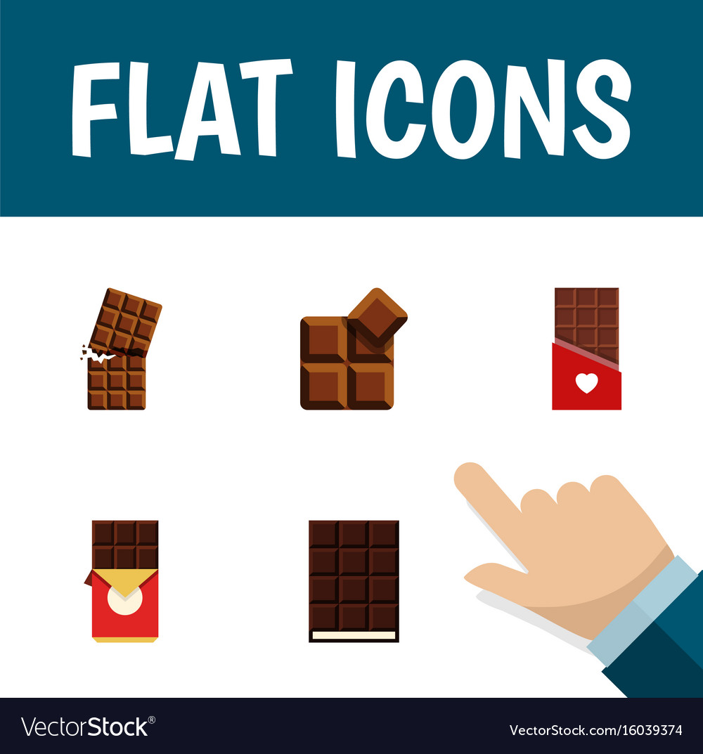 Flat icon sweet set of chocolate bar wrapper vector image