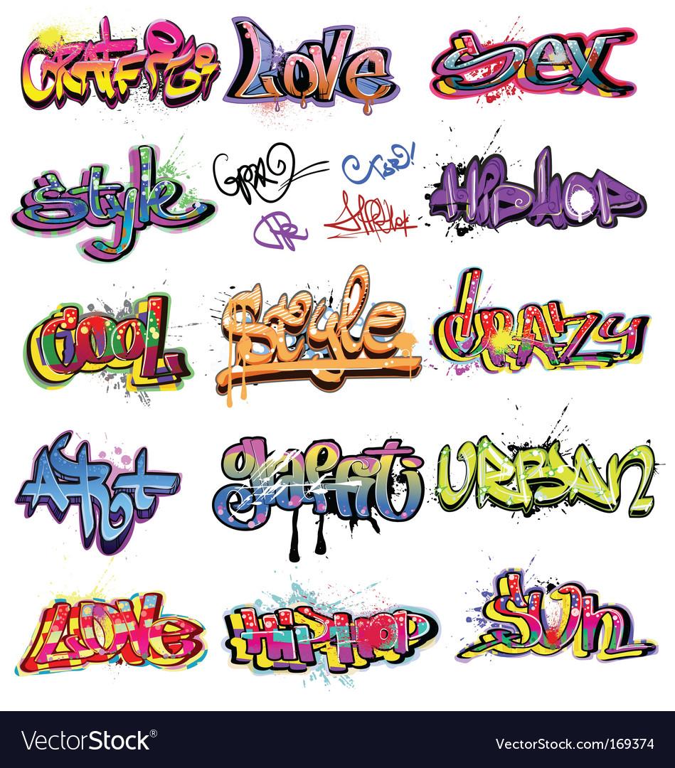 Graffiti collection vector image