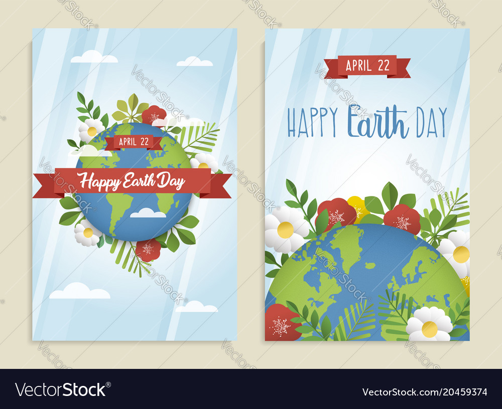 Happy earth day greeting card set of green planet vector image