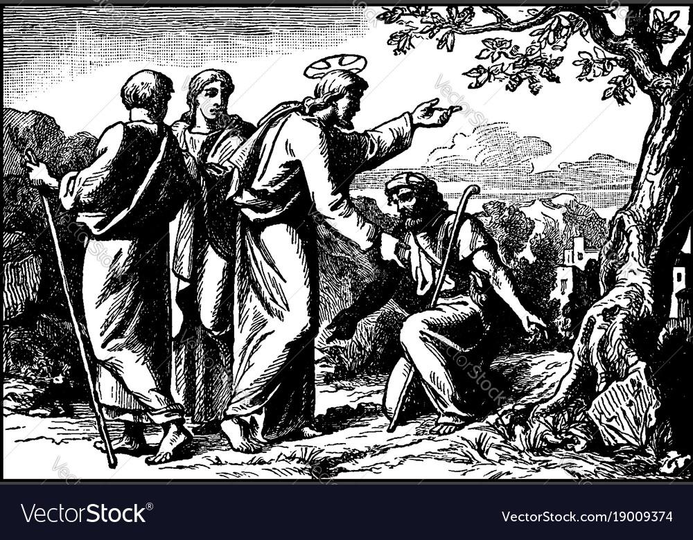 Jesus heals ten lepers and only the samaritan vector image