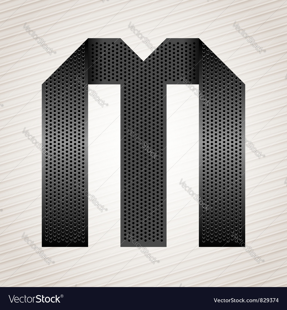 Letter metal ribbon - M vector image