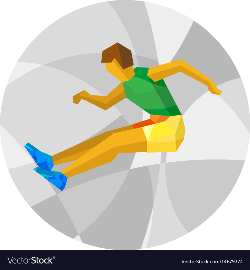 Long jumping athlete with abstract patterns