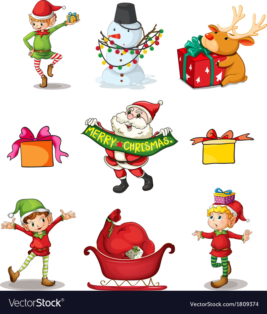Nine Different Christmas Decors Vector Image
