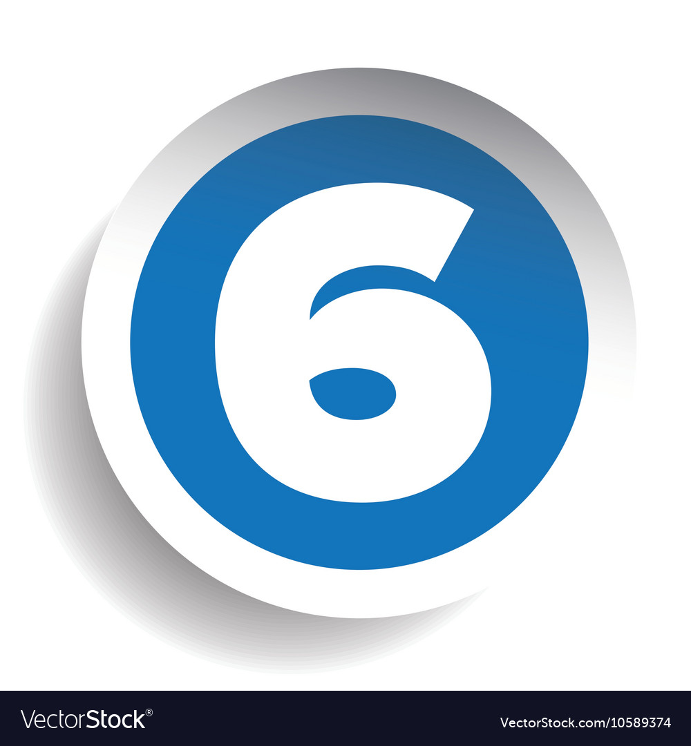 Number six sticker blue vector image