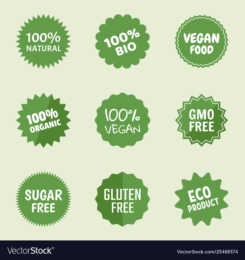 Organic product icons natural food labels