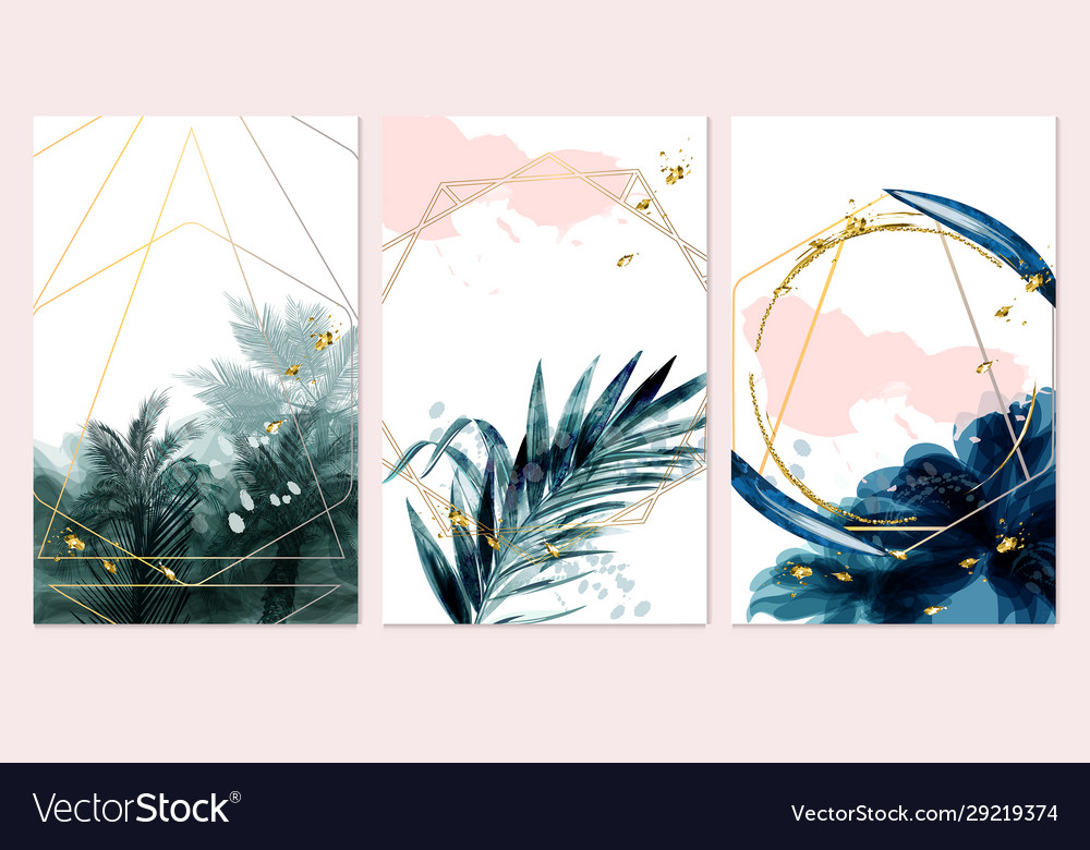 Set card with palms leaves wedding green