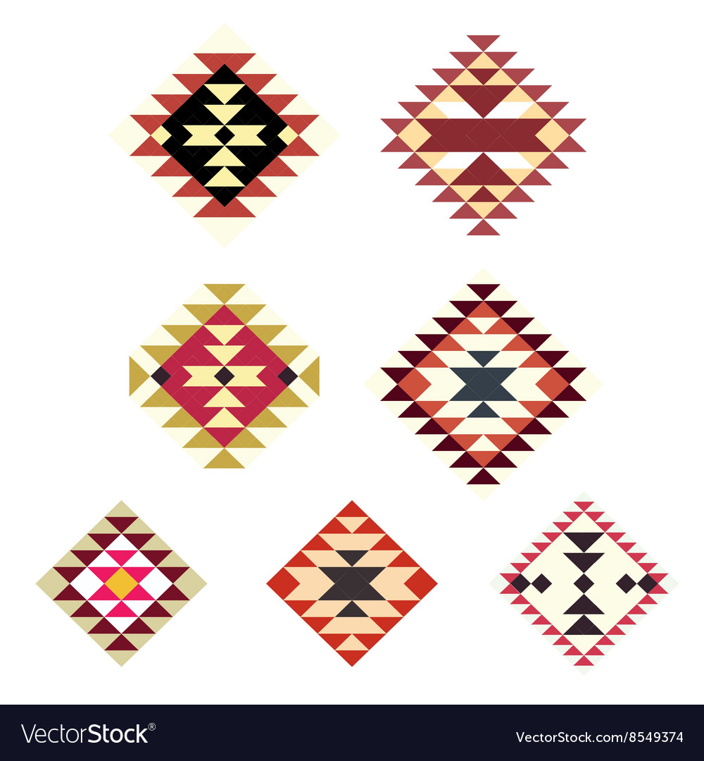 Set decorative ethnic with american indian