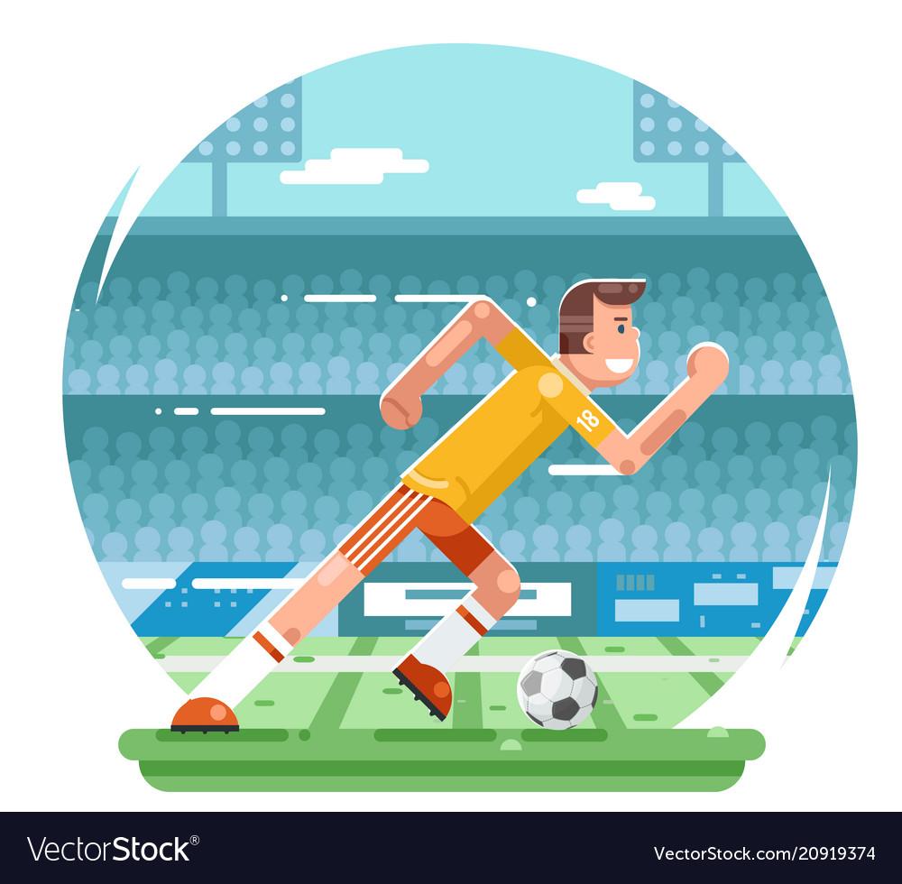 Soccer football player running character stadium
