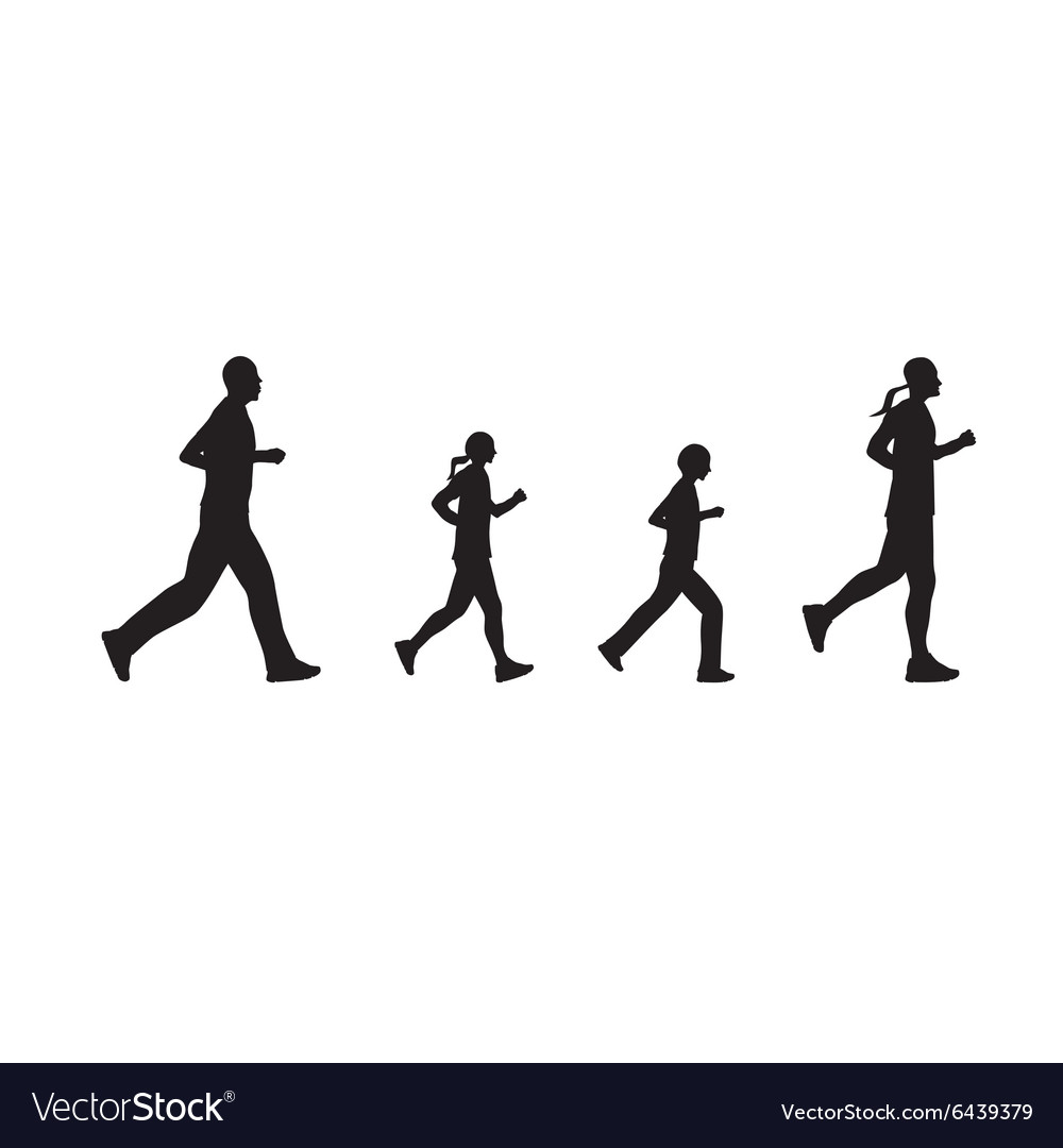 Black silhouettes of running people Family