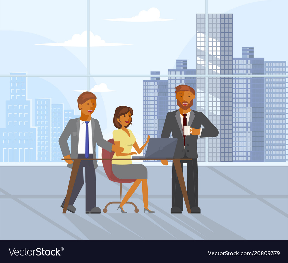 Business team on conference vector image