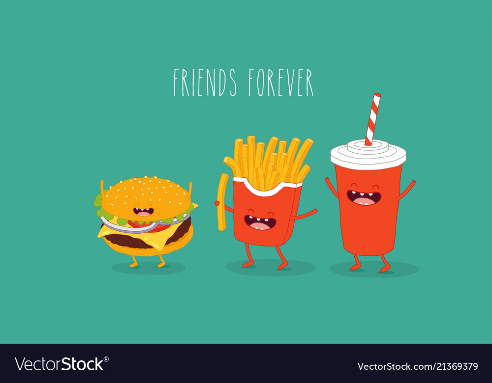 Cola french fries and hamburger friends