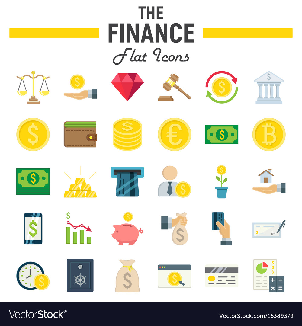 finance flat icon set business symbols collection vector image
