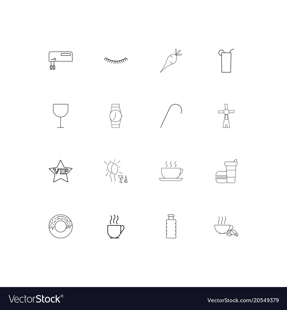 Food and drink simple linear icons set outlined